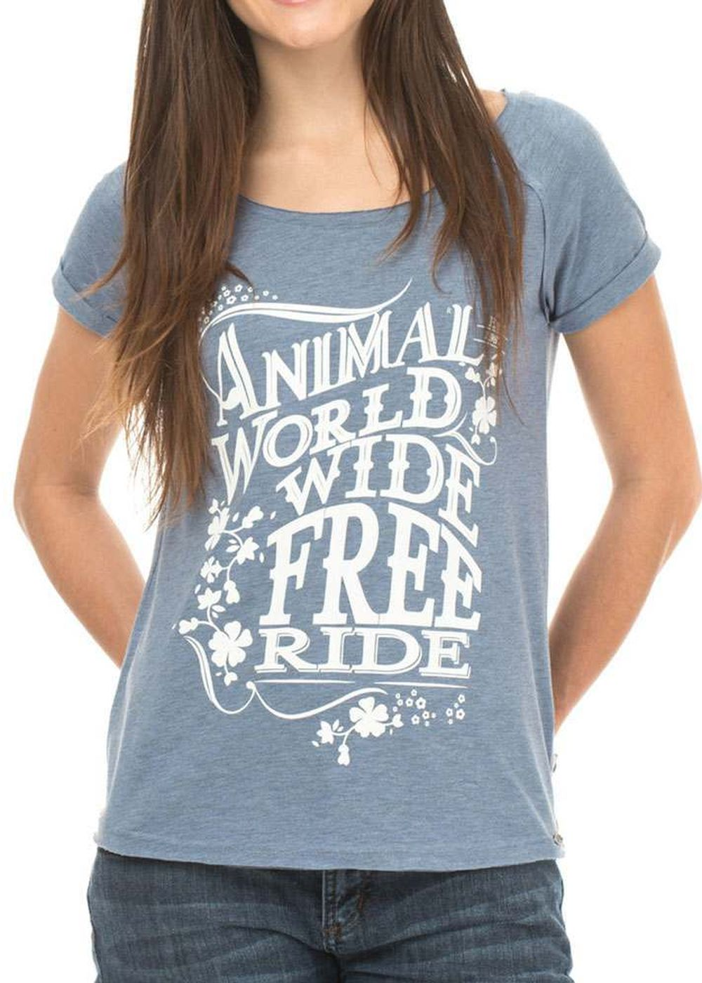 ANIMAL ANASTAZIA TEE Dusty Blue Marl