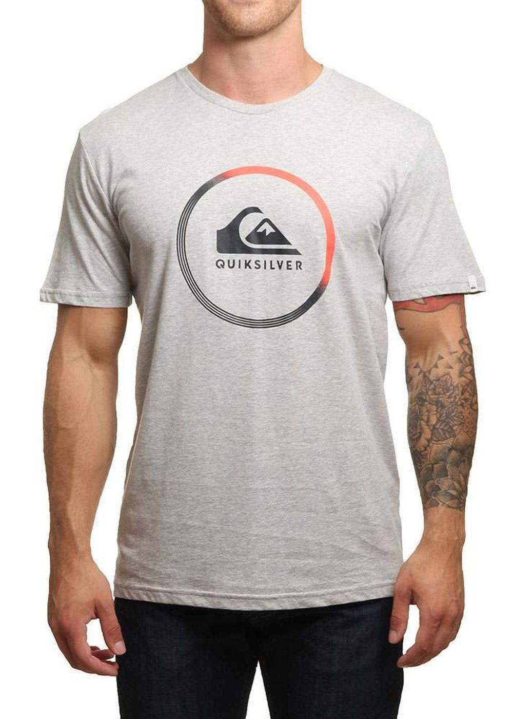 quiksilver active logo tee athletic heather