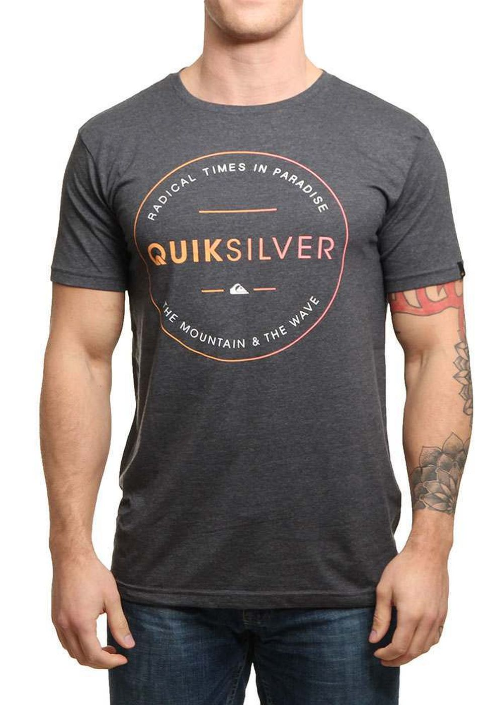 quiksilver free zone tee charcoal heather