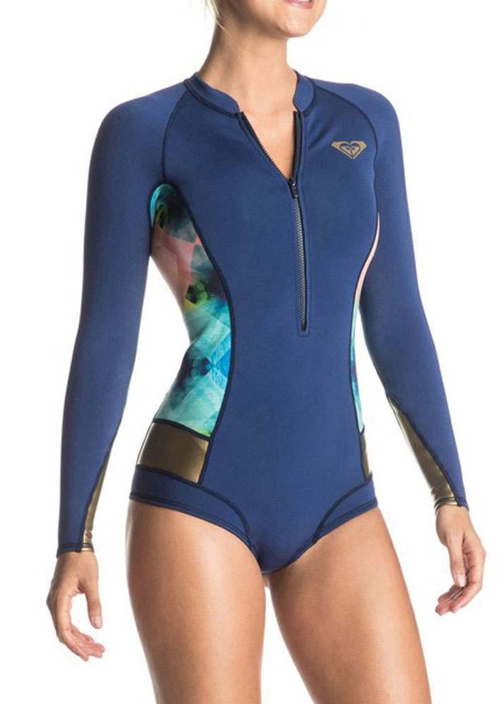 Roxy Popsurf 2mm Long Sleeve Shorty Wetsuit Blue Picture