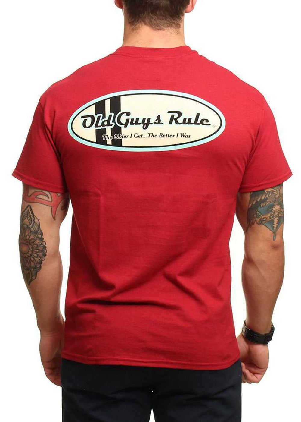old guys rule comp stripe oval tee card red