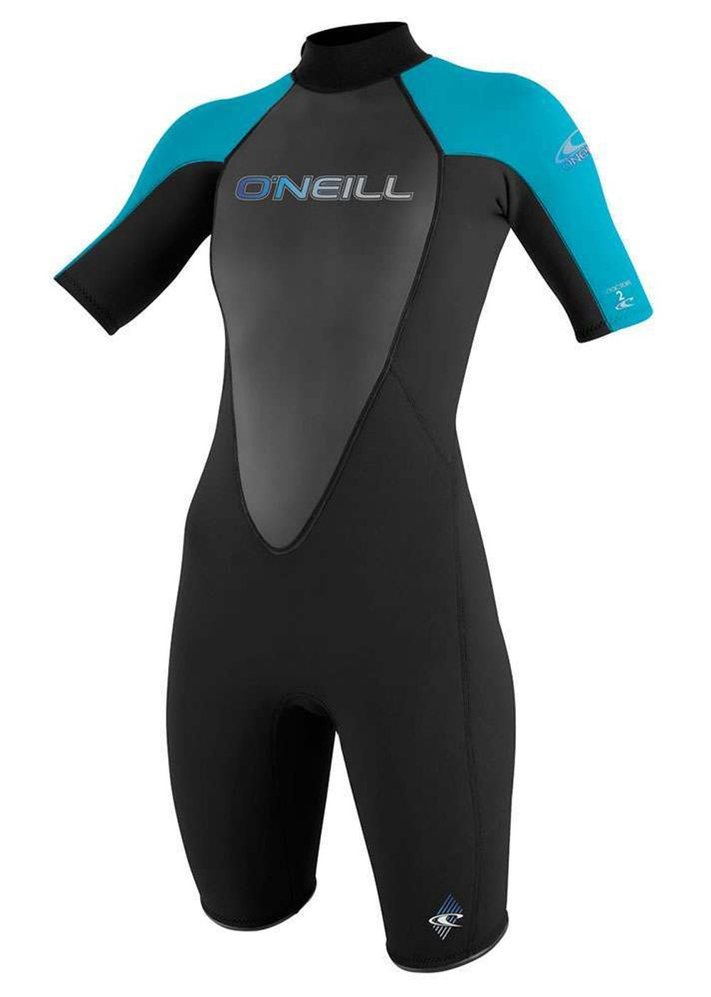 Oneill Womens Reactor 2mm Shorty Wetsuit Blk/turq Picture