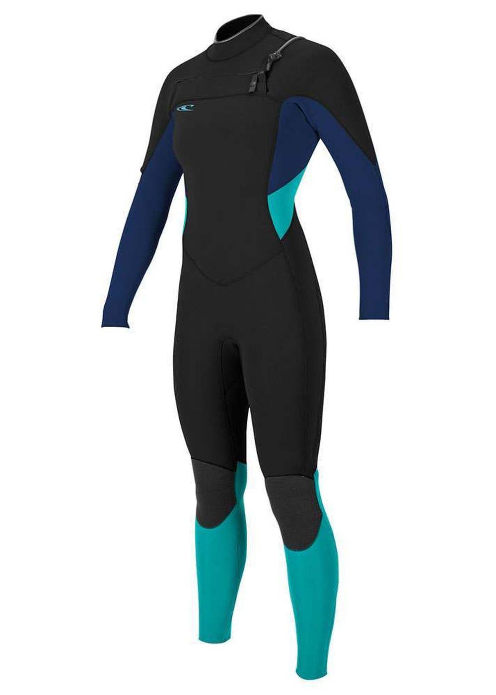 Oneill Womens Supertech Fz 3/2 Wetsuit Blk/nvy/aqu Picture