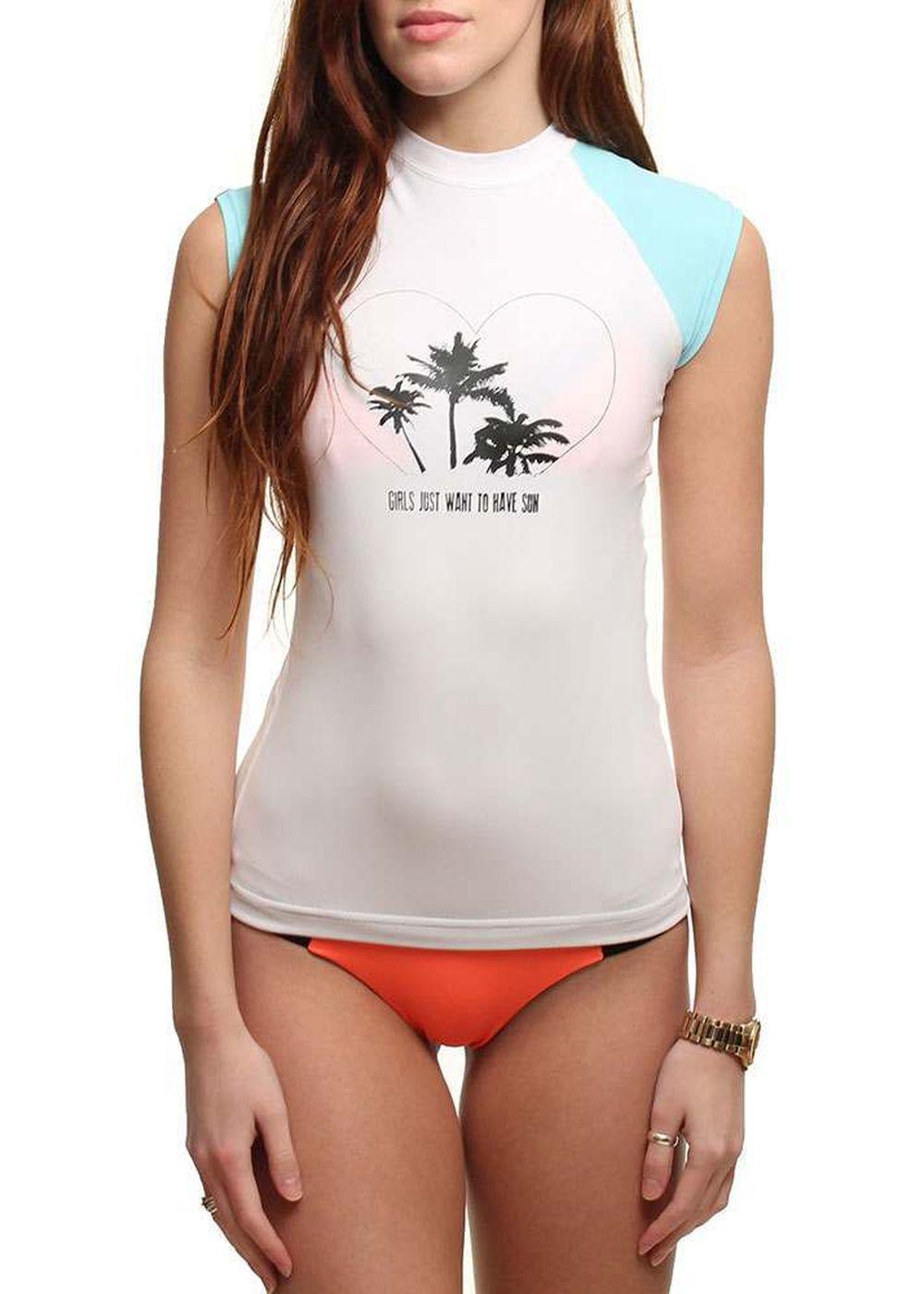 BILLABONG WOMENS LOVE SUN S/S RASHVEST Aqua