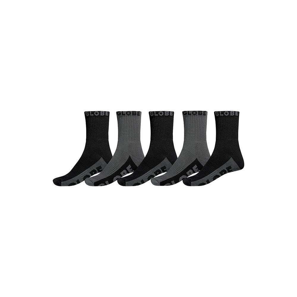 Globe Black/Grey Crew Socks 5 Pack