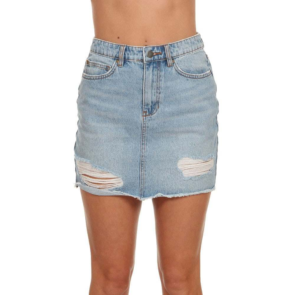 Billabong Take Risk Denim Skirt Blue Fade