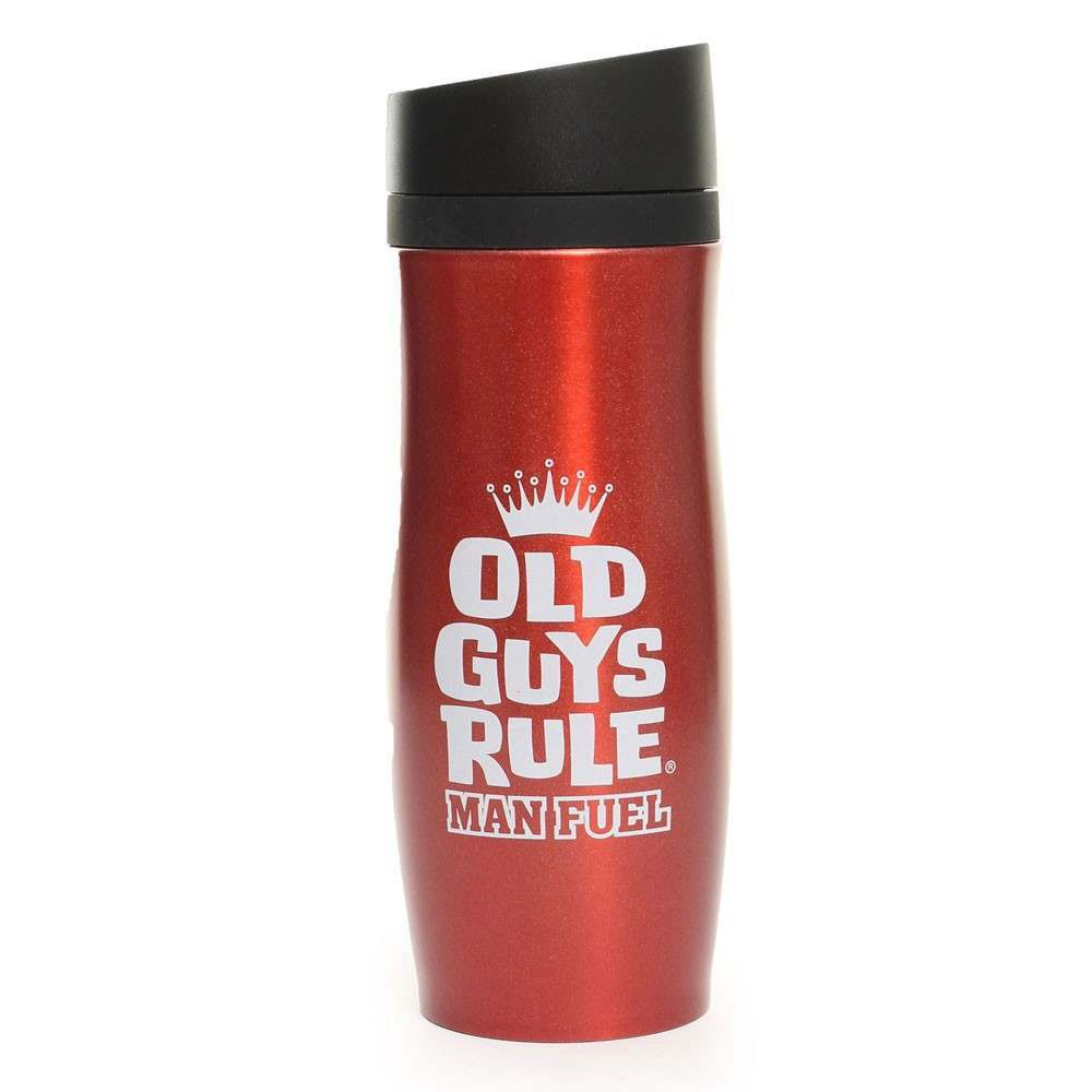 OLD GUYS RULE THERMAL DRINKING FLASK Indium Red