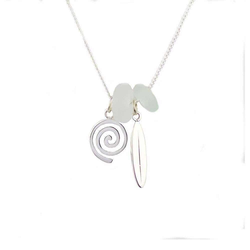 Spindrift Wind Rider Necklace Aqua/White