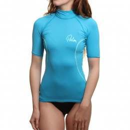 Palm Womens Short Sleeve Rash Vest Aqua