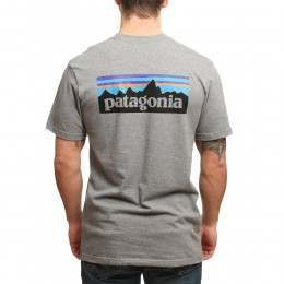 Patagonia P6 Logo Tee Gravel Heather