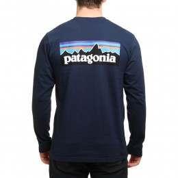 Patagonia P6 Logo Long Sleeve Top Navy Blue
