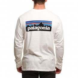 Patagonia P6 Logo Long Sleeve Top White