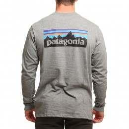 Patagonia P6 Logo Long Sleeve Top Gravel Heather