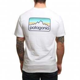 Patagonia Line Logo Badge Tee White/Dolomite Blue