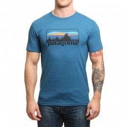 Patagonia '73 Logo Tee Big Sur Blue