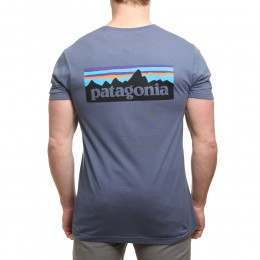 Patagonia P6 Logo Slim Fit Tee Dolomite Blue