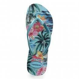 Havaianas Slim Tropical Sandals Blue Splash