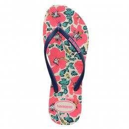 Havaianas Slim Floral Sandals White/Navy Blue