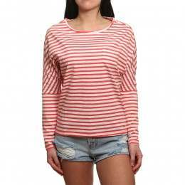 ONeill Essentials Striped L/Sleeve Top White/Pink