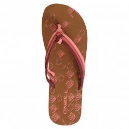 ONeill 3 Strap Ditsy Sandals Hot Coral