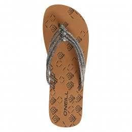 ONeill 3 Strap Ditsy Sandals Metallic Black