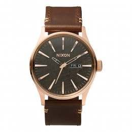 Nixon The Sentry Leather Watch Rose Gold/Gunmetal