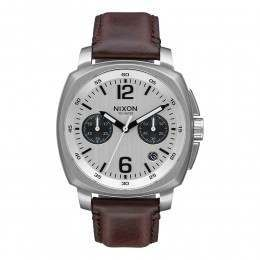 Nixon The Charger Chrono Leather Watch Silver/Brn