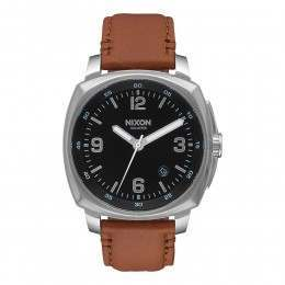 Nixon The Charger Leather Watch Black/Saddle