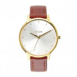 Nixon The Kensington Leather Watch Gold/Saddle