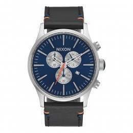 Nixon The Sentry Chrono Leather Watch Blue Sunray