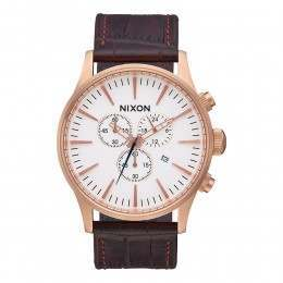 Nixon The Sentry Chrono Leather Watch Rose Gld/Gat