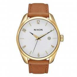 Nixon The Bullet Leather Watch Gold/Saddle