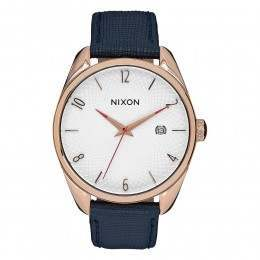 Nixon The Bullet Leather Watch Rose Gold/Navy