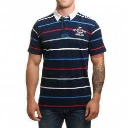 Old Guys Rule Vintage Goods Polo Shirt Navy Stripe
