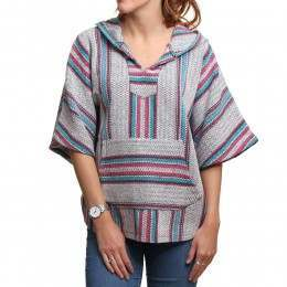 Baja Senor Lopez Poncho Hoody Grey/Purple/Blue