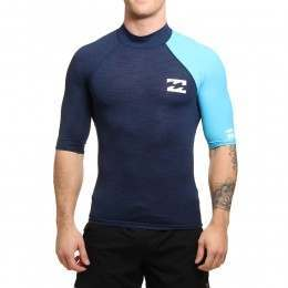Billabong Contrast Short Sleeve Rash Vest Navy
