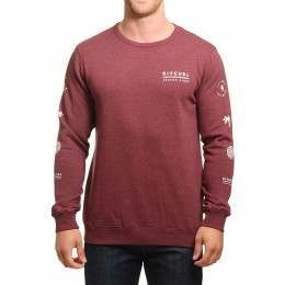Ripcurl Stacked Vibes Crew Tawny Port Marle