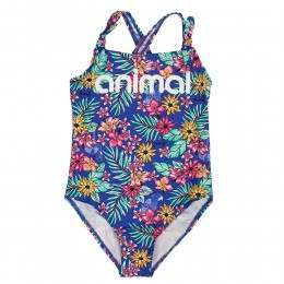 Animal Girls Splash Palm Swimsuit Cornflower Blue