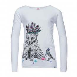 Animal Girls Billie Bear L/S Top White