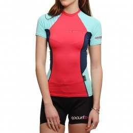 CSkins Womens Short Sleeve Rash Vest Rose/Mint