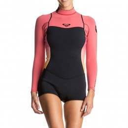 Roxy Syncro 2mm Long Sleeve Shorty Wetsuit Pink