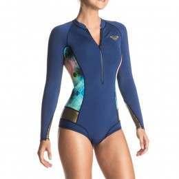 Roxy Popsurf 2mm Long Sleeve Shorty Wetsuit Blue