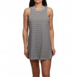 Roxy Shiny Tee Dress Bright White Stripe