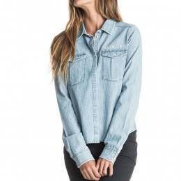 Roxy Save Me Denim Shirt Light Blue
