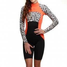 GLIDESOUL LONG SLEEVE 2MM SHORTY WETSUIT Blk/Peach