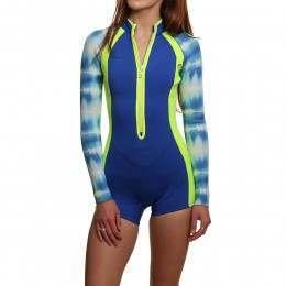 Glidesoul Long Sleeve 2MM Shorty Wetsuit Blue Prin