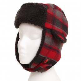 IGNITE PLAIDFUR 12 BOYS TRAPPER HAT Red