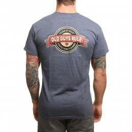 Old Guys Rule Young At Heart Tee Heather Navy