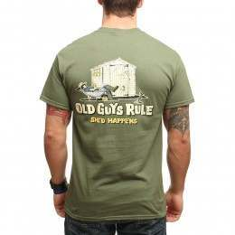 Old Guys Rule Shed Happens 2 Military Tee Green