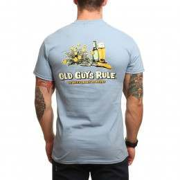 Old Guys Rule To Weed Or Not Tee Stone Blue